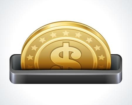 Dollars money coins from cash machine vector design elements Stock Vector - 14760716