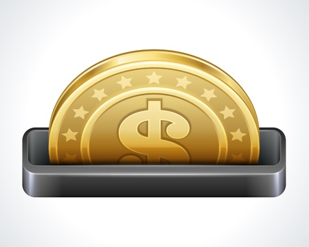monet: Dollars money coins from cash machine vector design elements Illustration