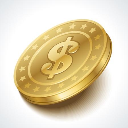 monet: Dollars money coin in perspective vector design element Illustration