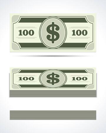bundle: Dollars money in perspective vector design elements Illustration