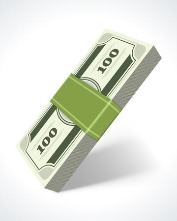 money symbol: Dollars money in perspective vector design element