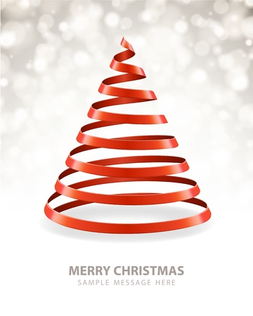 Christmas tree from ribbon vector background Stock Vector - 15801058