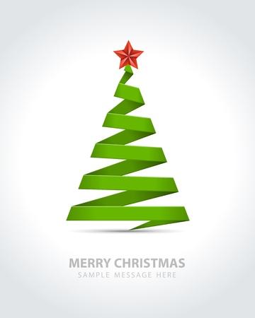 christmas template: Albero di Natale da sfondo vettore di carta del nastro