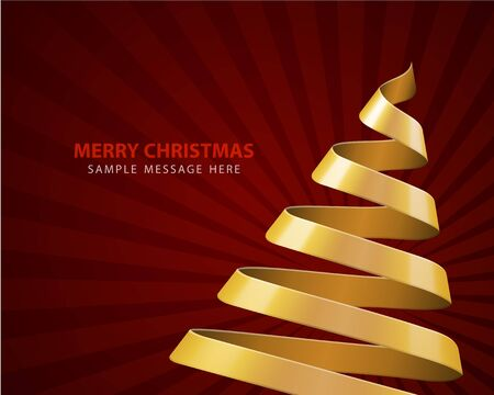 Christmas tree from ribbon vector background Vector