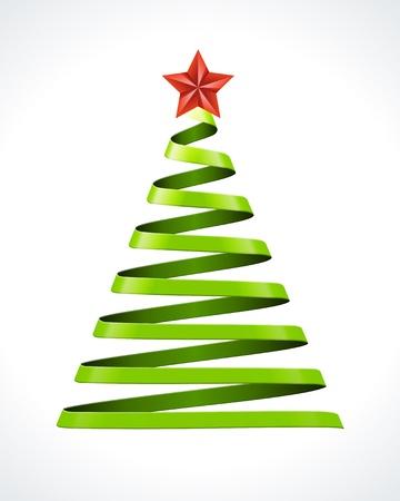Albero di Natale da elemento nastro di disegno vettoriale Vettoriali
