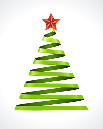 christmas backgrounds: Christmas tree from ribbon vector design element