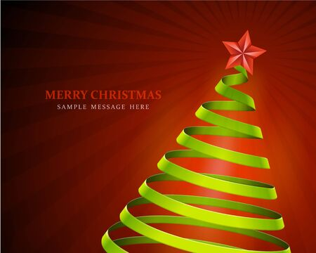 Christmas tree from ribbon background Vector