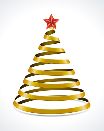 Christmas tree from ribbon design element Vector