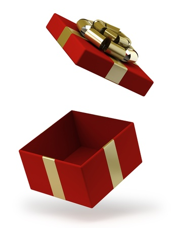 Gift box with gold ribbon bow isolated on white photo
