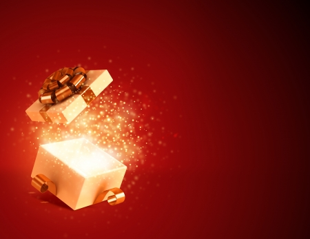 Geschenkdoos open en vuurwerk achtergrond Stockfoto