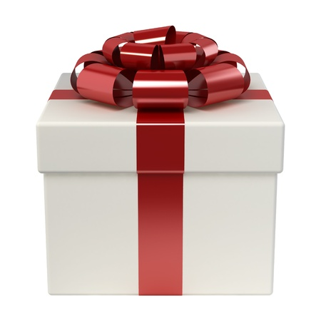 Gift box with red ribbon bow isolated on white Stock Photo - 15936436