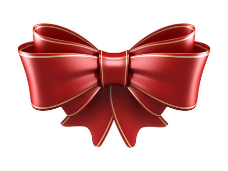 Red satin gift bow isolated on white Stock Photo - 15936438