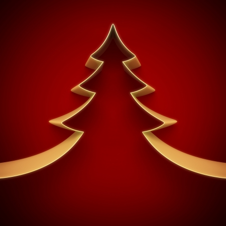 christmas backdrop: Christmas tree from ribbon background Stock Photo