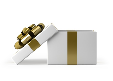 open present: Gift box open with gold ribbon bow background