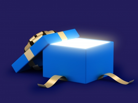 Gift box open with gold ribbon bow and light background photo