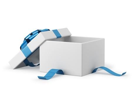 Gift box open met blauw lint boog achtergrond Stockfoto