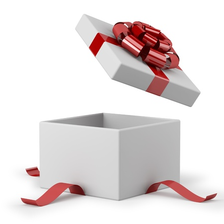 gift box open: Gift box open with red ribbon bow background