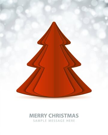 Christmas tree from cut paper vector background Vector