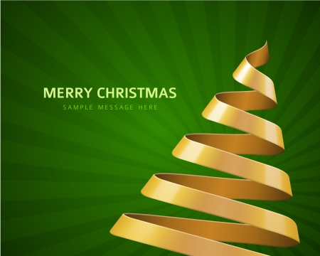 bright card: Christmas tree from ribbon vector background Illustration