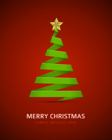 lent: Christmas tree from paper ribbon vector background Illustration