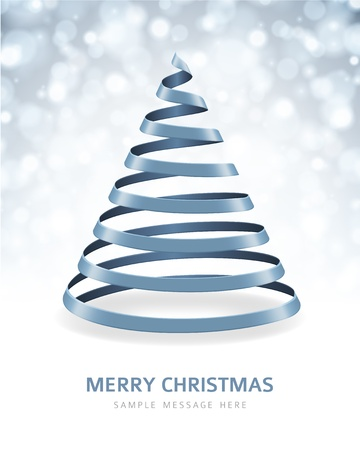 lent: Christmas tree from ribbon vector background Illustration