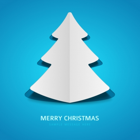 Christmas tree  from paper background Vector