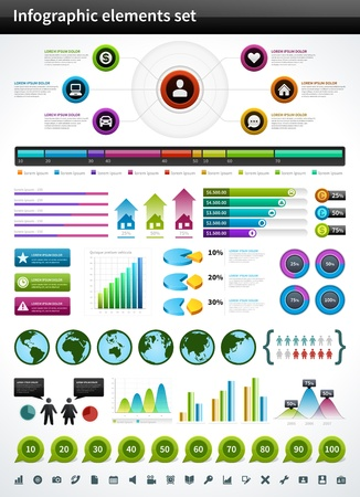 bar chart: Infographics collection vector design elements