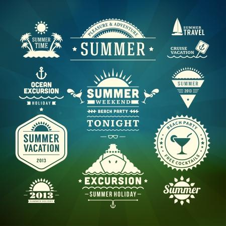 ausflug: Retro Sommer-Design-Elemente Vektor-Illustration