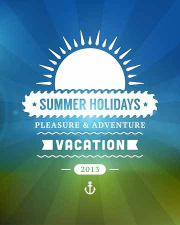 estate: Retro estate poster design, vettore, illustrazione Vettoriali