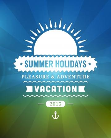 stamp collection: Retro summer design poster  Vector illustration