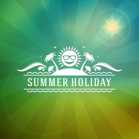 in the summer: Retro summer design poster  Vector illustration