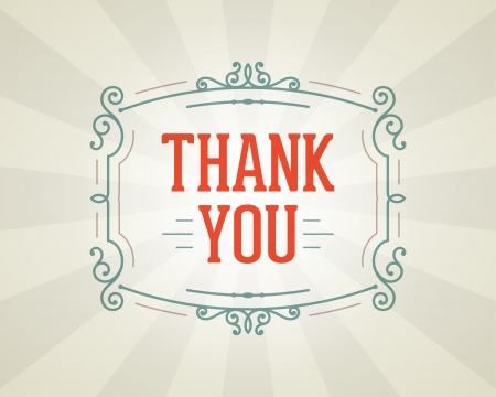 thank you card: Thank you message and antique frame design element Illustration