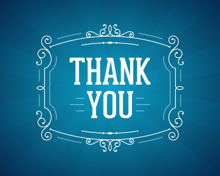 very: Thank you message and antique frame design element Illustration