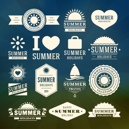 in the summer: Retro summer design elements  Vector illustration