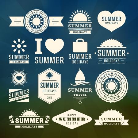 yazlık: Retro yaz tasarım öğeleri Vector illustration