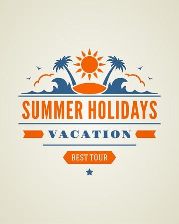 de zomer: Retro zomer ontwerp poster Vector illustratie Stock Illustratie