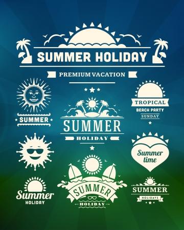 Retro summer design elements  Vector illustration  Vector