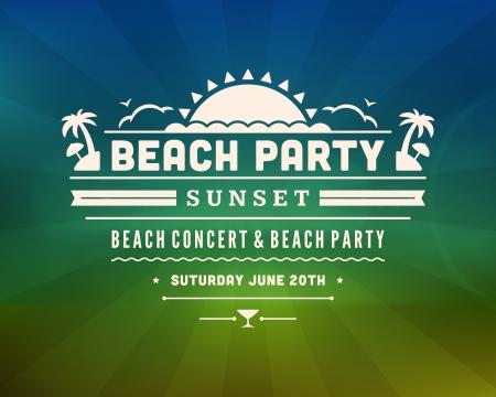 elegant party: Retro summer design poster  Vector illustration