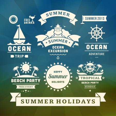 Retro summer design elements Vector illustration