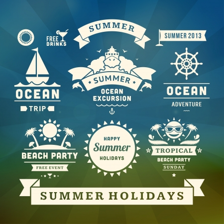 zomer: Retro zomer design elementen Vector illustratie