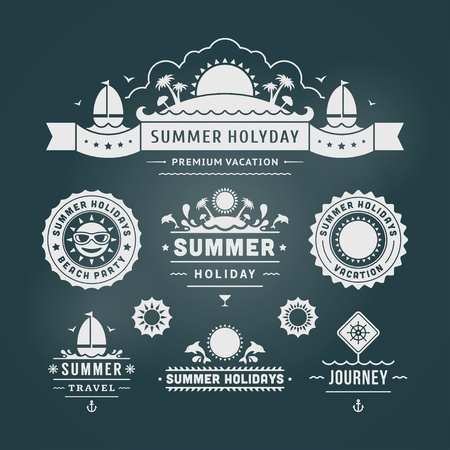 Retro summer design elements  Vector illustration  Vector