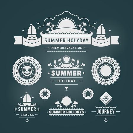 de zomer: Retro zomer design elementen Vector illustratie