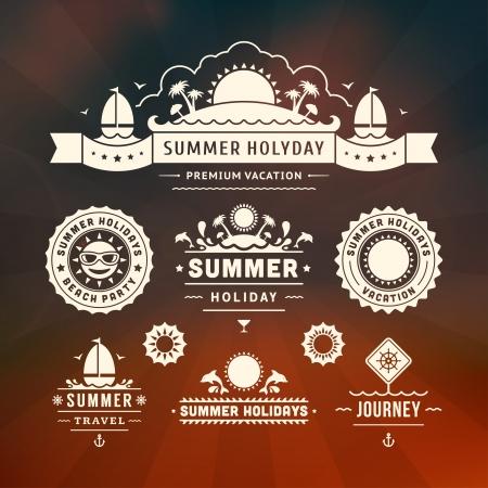 Retro summer design elements  Vector illustration Stock Vector - 19757029