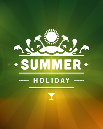 Retro summer design poster  Vector illustration