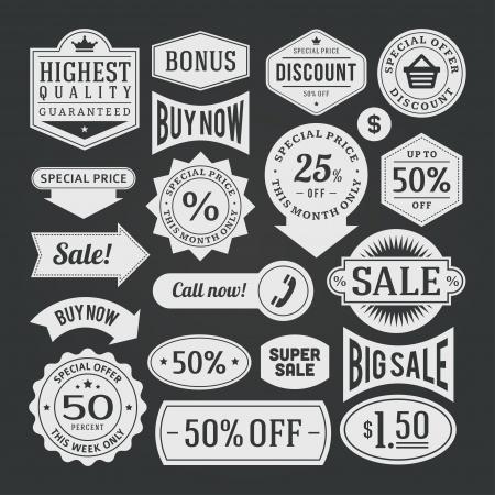 vintage sale label set chalk design elements Illustration