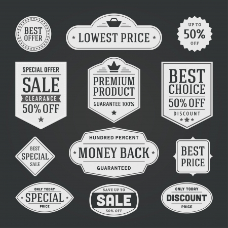vintage sale label set chalk design elements Vector