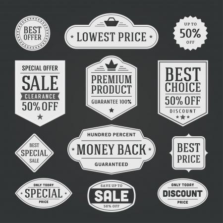 sale tags: vintage sale label set chalk design elements Illustration