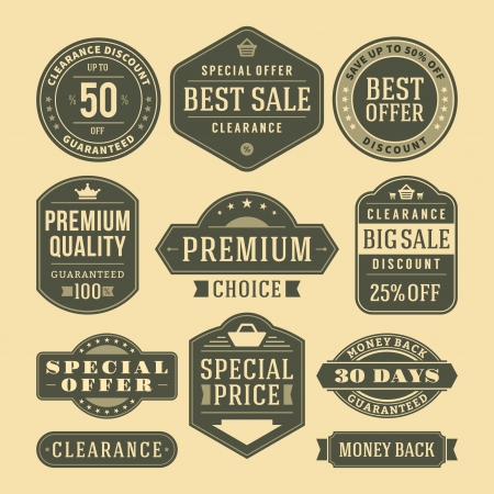 vintage sale label set design elements Vector