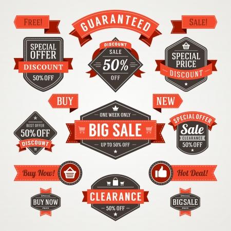 special offer: vintage sale labels and ribbons set design elements Illustration