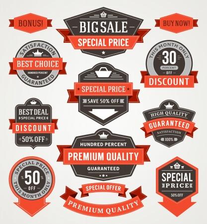 offers: vintage sale labels and ribbons set design elements Illustration